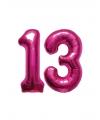 Opblaas 13 jaar ballonnen roze