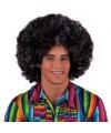 Afro hippie pruik zilver/zwart