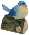 Polystone blauwe vogel met geluid