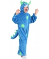 Pluche monster kinder outfit blauw