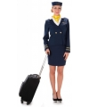 Donkerblauw stewardessen kostuum