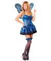 Dames vlinder kostuum blauw