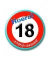 Button in vorm verkeersbord 18 jaar