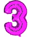 Cijfer ballon in roze 3