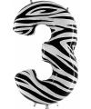 Cijfer ballon in zebra 3