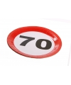 Wegwerp bordjes 70 jaar 8 stuks