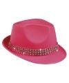 Fuchsia roze popster hoedje met studs