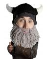 Zwarte viking helm met grijze baard