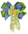 Luxe decoratie strik groen / blauw