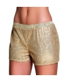 Gouden dames hotpants met pailletten
