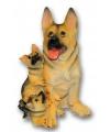 Stenen Duitse Herder met puppies zittend 35 cm