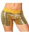 Hotpants goud met glitters
