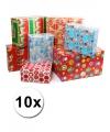 Kadopapier met kerst print 10 rollen