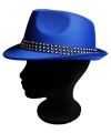Blauw popster hoedje met studs