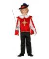Rood musketierspak voor jongens