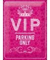 Metalen plaat muurdecoratie VIP parking 30 x 40 cm