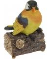Polystone oranje/gele vogel met geluid