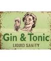 Ouderwetse wandplaat Gin Tonic Liquid Sanity 15 x 20