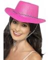 Knalroze glitter cowboy hoed