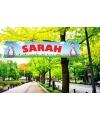 Buiten spandoek van Sarah