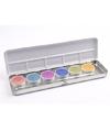 6 kleurige schmink palet met edelmetaal kleuren