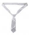 Korte stropdas zilver de luxe