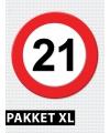 21 jaar verkeersbord versiering XL pakket