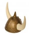 Gouden viking helm met hoorns en spijkers