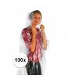 Voordeelset van 100x wegwerp regenponcho